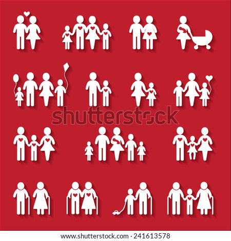 White family icon set on red background - stock vector