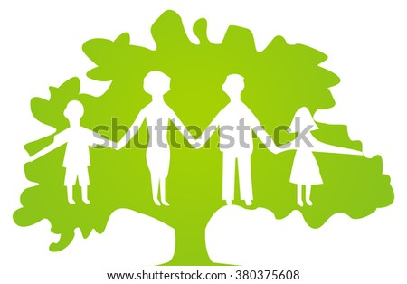 white family silhouettes on green background in the green tree - stock vector