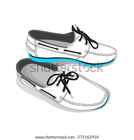 white fashion shoes. vector - stock vector