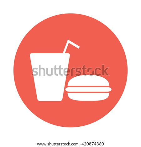 White fast food / drink icon vector illustration red circle / button