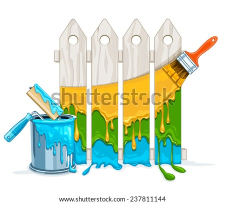 White fence painting maintenance by colour paint by brush roller with full bucket. Eps10 vector illustration. Isolated on white background - stock vector
