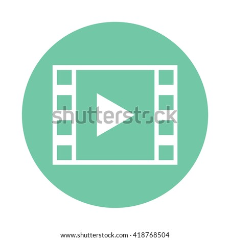 White Film strip with play button icon vector illustration - stock vector