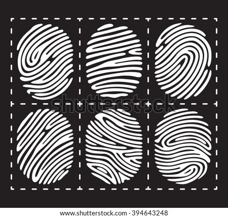 White fingerprint icon set. Fingerprint isolated on black background. Elements of fingerprint identification. Fingerprint security conception. Fingerprint apps icons. Vector fingerprint illustration. - stock vector