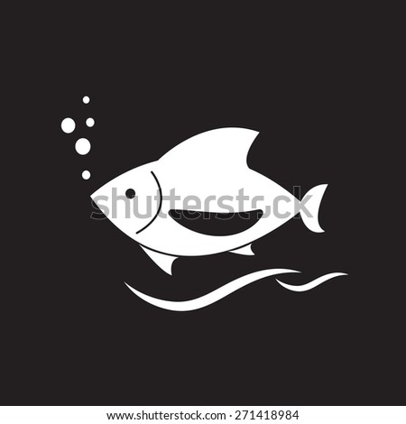 white fish icon on white background, vector EPS 10. - stock vector
