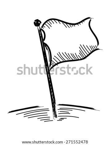 White flag icon isolated on white background - stock vector