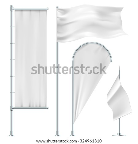 White flags and banners - stock vector