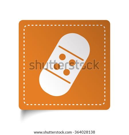 White flat Adhesive Bandage icon on orange sticker - stock vector