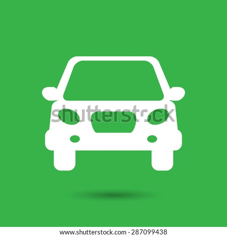 white flat car button icon on a green background - stock vector
