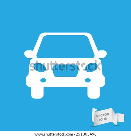 white flat car button icon on a grey background - stock vector