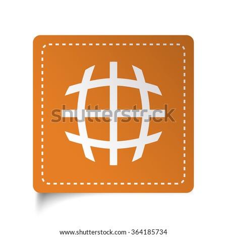 White flat International  icon on orange sticker - stock vector