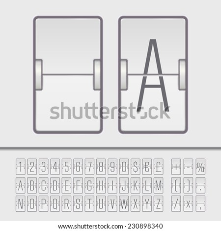 White flip scoreboard alphabet, numbers and simbols. Vector EPS10 - stock vector
