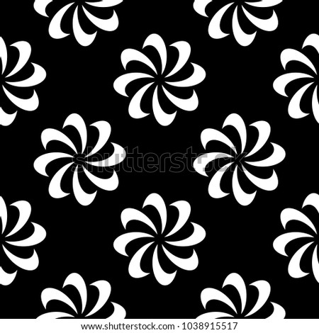 White floral design on black background. Seamless pattern for textile and wallpapers