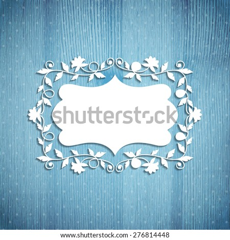White floral frame on a wooden background. Vector illustration. Eps10 - stock vector