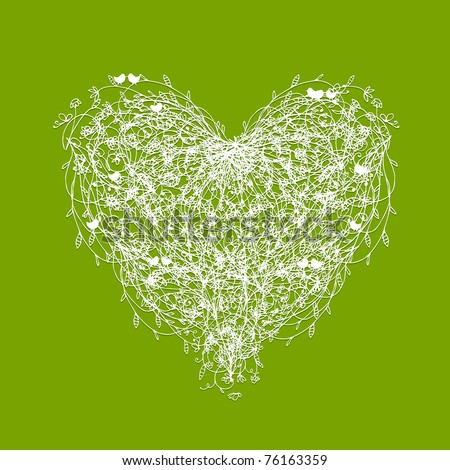 White floral heart shape on green - stock vector