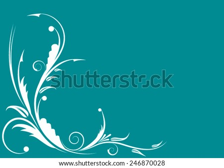 White floral ornament on a blue background. Vector. - stock vector