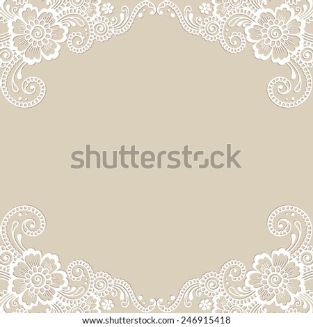 White flower frame, lace ornament. Vector illustration. - stock vector