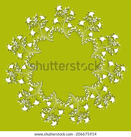 White Flower Round Frame with shadow. Vector abstract background. EPS 10. Flat.  - stock vector