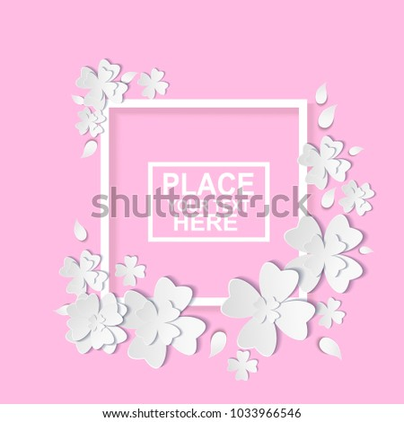 White flowers carved flat folding style stock vector hd royalty white flowers carved flat folding style floral spring templates with paper flowers with shadow mightylinksfo