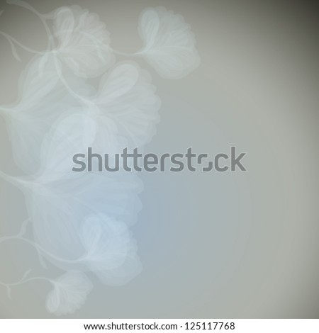 White flowers / Floral square background - stock vector