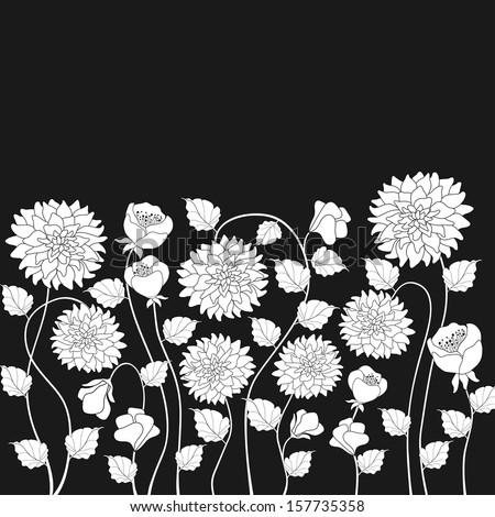 White flowers on black background vector illustration - stock vector