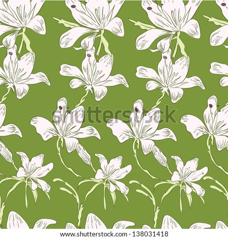 White flowers on the bright green background