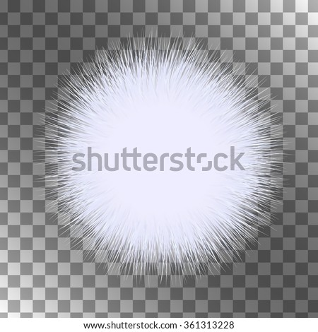 White fluffy vector isolated sphere. A piece of fur. - stock vector