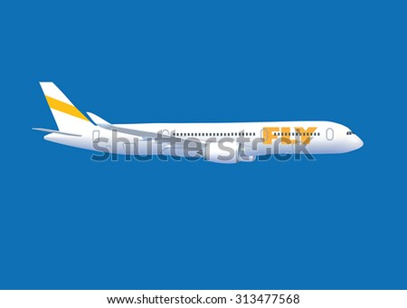 White flying airplane isolated on the blue background. - stock vector