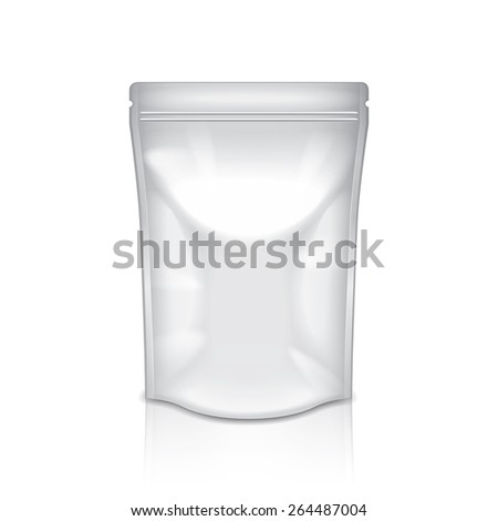 White foil packaging isolated on white photo-realistic vector illustration - stock vector