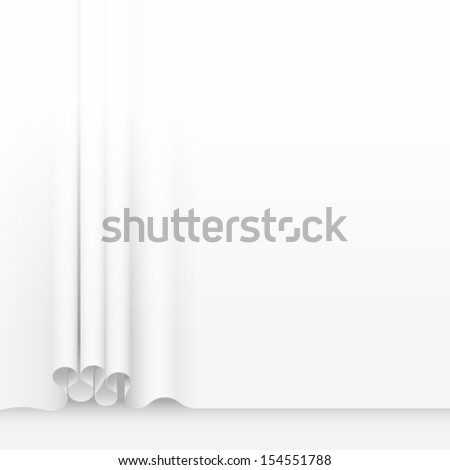 White folded curtain background, eps10 vector