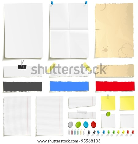 White folded paper, grungy old paper, ragged sheets of paper, blank squared and lined notepad pages and elements for attaching paper: pin, plasticine, scotch tape and paperclip set - stock vector