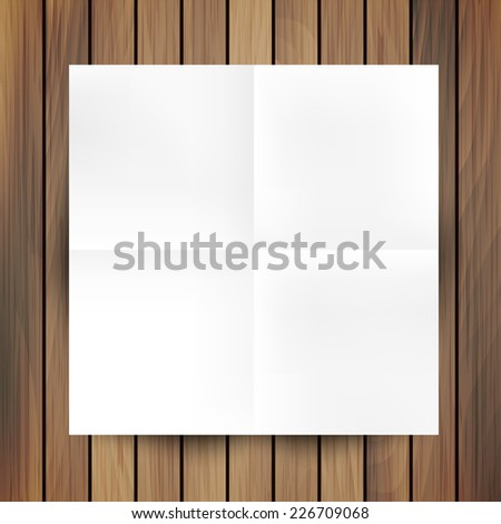 White folded paper mockup card isolated on wood background, vector illustration