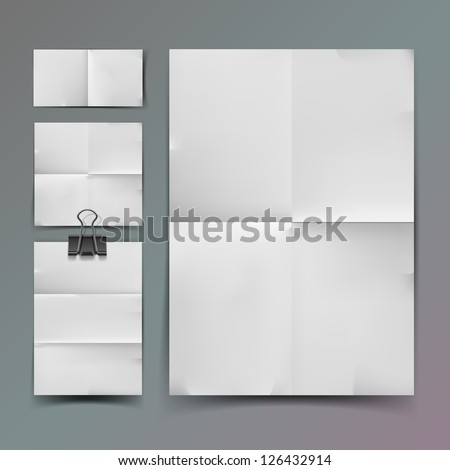 White folded paper set and element for attaching paper paperclip. - stock vector