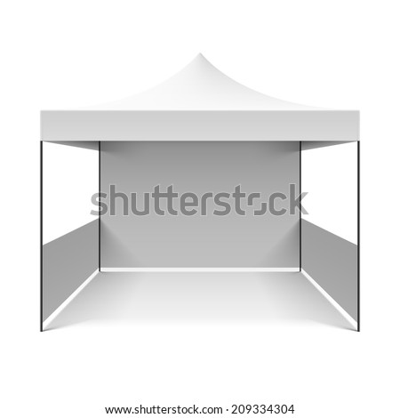 White folding tent. Vector. - stock vector