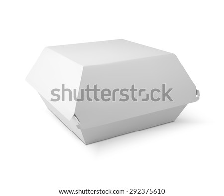 White food box, packaging for hamburger, lunch, fast food, burger, sandwich. Product pack. vector isolater on white background - stock vector