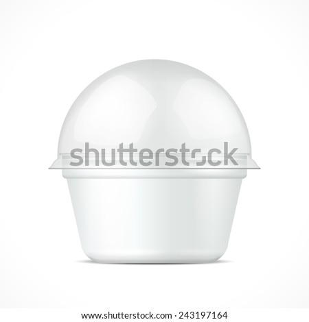 White Food Plastic Tub Bucket Container For Dessert, Yogurt, Ice Cream, Sour Cream Or Snack.  Illustration Isolated On White Background. Mock Up Template Ready For Your Design. Vector EPS10 - stock vector