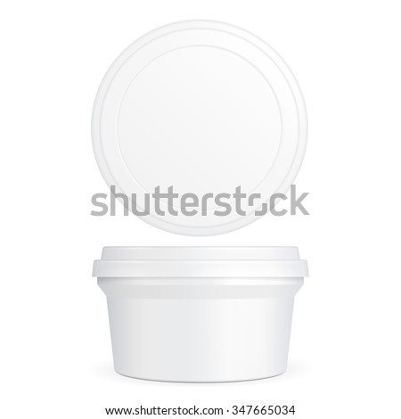 White Food Plastic Tub Bucket Container For Dessert, Yogurt, Ice Cream, Sour Cream Or Snack. Illustration Isolated On White Background. Mock Up Template Ready For Your Design. Product Packing Vector - stock vector
