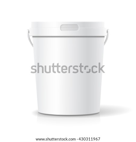 White food plastic tub bucket container with handle