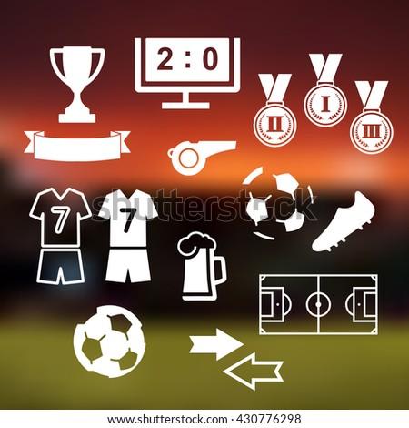 White football soccer icons set on stadium background. Vector illustration. - stock vector