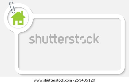 white frame for text and home symbol - stock vector