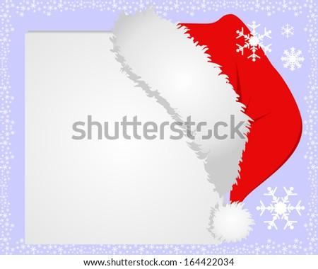 White Frame with Santa's hat, where you can place your information. - stock vector