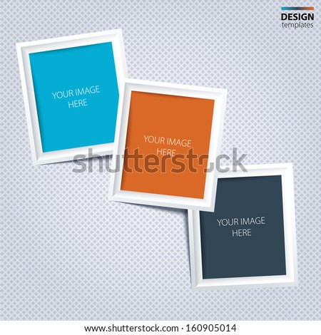 White frames for your photos on the grey background. - stock vector