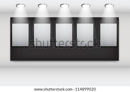 White frames in art gallery ector illustration - stock vector