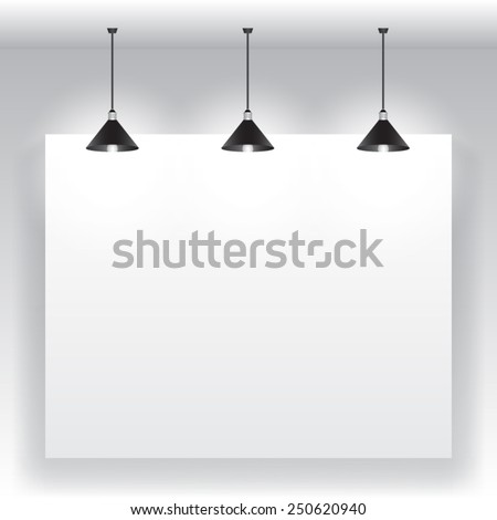 White frames in gallery - stock vector