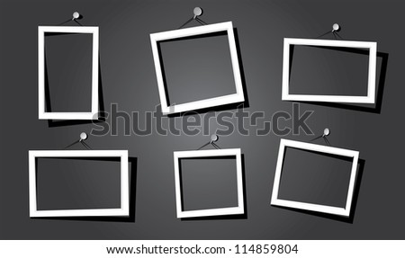 white frames on the black wall. vector illustration. - stock vector