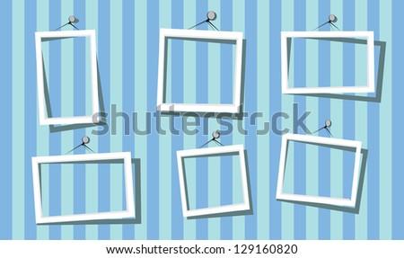 white frames on the blue striped wall. vector illustration. cut paper design frame.  scrapbook design. - stock vector