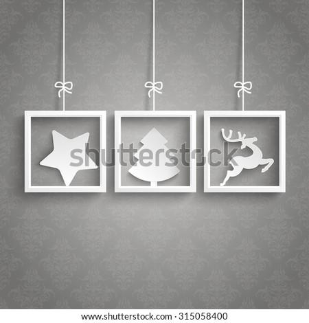 White frames on the gray background. Eps 10 vector file. - stock vector