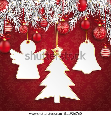 White frames with christmas symbols , twigs and baubles on the red background. Eps 10 vector file.