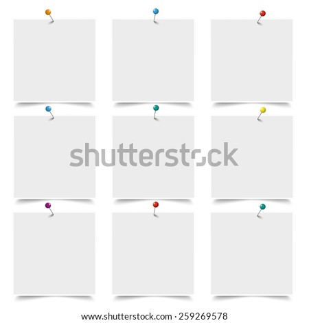 White frames with pins on the white background. Eps 10 vector file. - stock vector