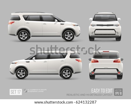 white freight suv car template for brand mock up and corporate identity easy to edit