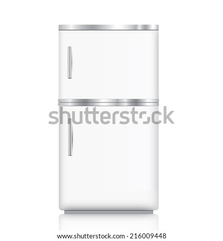 White fridge isolated on white - stock vector